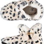 Dieren luipaardprint half hoge sloffen/pantoffels voor dames – Pluche dierensloffen panterprint 37-38